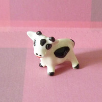 Miniature cow figurines ceramic -Doll house Miniature animal figurines farm animal -animal ornaments collection -home decor