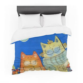 "Carina Povarchik ""Happy Cats In The City"" Blue Orange Featherweight Duvet Cover"