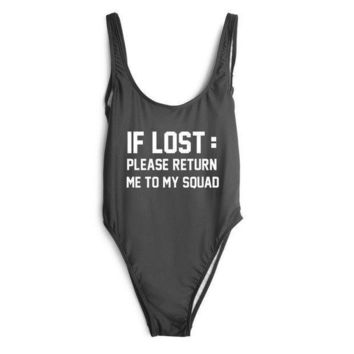 CREYOND If Lost :Please Return To My Squad' One Piece Swimsuit