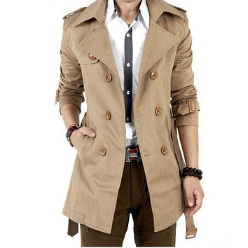 2017 Spring Long Trench Coat Men Khaki Famous Luxury Brand Cloak Cape Mens British Style Casual Slim Double Breasted Windbreaker