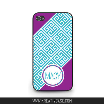Greek Key Phone Case, Custom, Personalized, Monogram, iPhone 4 4s 5 5s 5C, Samsung Galaxy s3 s4 s5, BlackBerry z10 Q10, Phone Cover - K346
