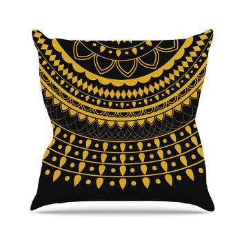 "Famenxt ""Golden Vibes Mandala"" Gold Black Digital Throw Pillow"