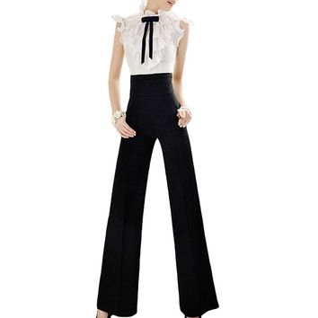 Vintage Office Loose Women Pants Trousers Zipper High Waist Pocket Front Flare Wide Leg OL Office Career Capris Work Wear Black
