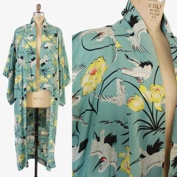 Vintage 40s KIMONO / 1940s Novelty CRANES Asian Japanese Floral Cold Rayon Long Robe