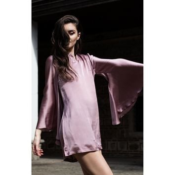 Pink Bell Sleeve Short Dress