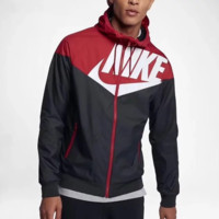 NIKE Fashion new letter hook print splice contrast color sport leisure hooded long sleeve coat windbreaker