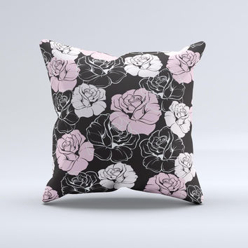 Pink and Black Rose Pattern V3 ink-Fuzed Decorative Throw Pillow