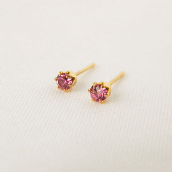 Fuschia Pink Gemstone Studs, Gold Earrings, Dainty Stud Earrings, Bridesmaid Earrings, Wedding, Minimal, Pierced Earrings,Post, Gift for Her
