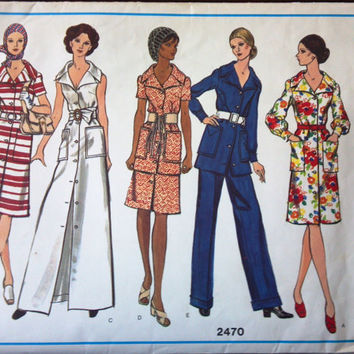 Vogue's Basic Design Pattern 2470 for Lady's Dress & Pantsuit, Size 12. From 1970's
