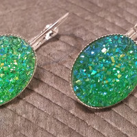Druzy earrings-  ab green drusy silver tone dangle druzy earrings
