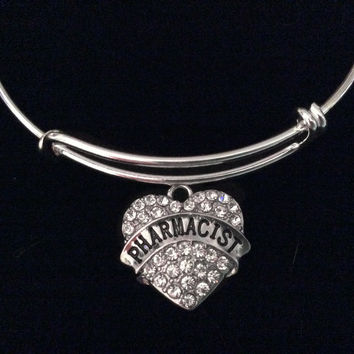 Crystal Pharmacist Heart Expandable Charm Bracelet Silver Adjustable Wire Bangle Hospital Medical Gift Trendy