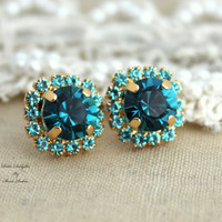 Blue Teal Rhinestone stud swarovski Crystal,christmas gift - 14k gold plated post earrings real swarovski rhinestones