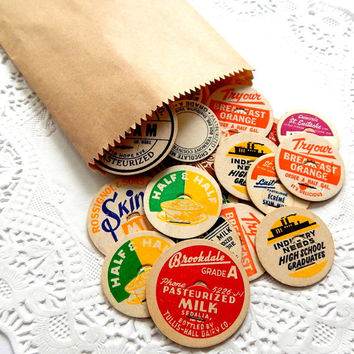 Vintage Old Milk Caps. Paper Ephemera. Bottle Cap. Old Milk Bottles. Dairy Bottle Cap. Embellishment. Magnets. Scrapbook Supply. Mixed Media
