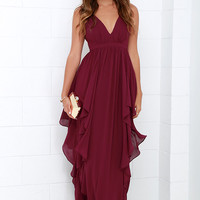 Water-Falling for You Burgundy Maxi Dress