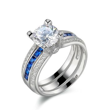 925 Sterling Silver Wedding Ring Sets For Women Blue Cubic Zirconia Engagement Band