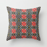 Geometric Flowers Throw Pillow by FolkloreInspired