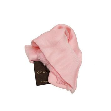 Gucci Women's GG Cashmere Scarf 307245 Light Pink