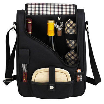 2-Bottle Wine & Cheese Cooler, Black, Coolers & Thermal Bags