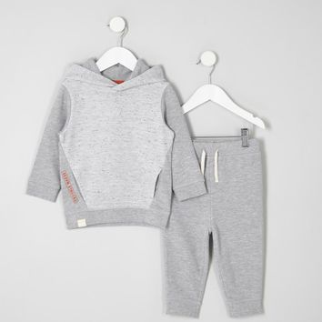 Mini boys grey waffle hoodie outfit - Baby Boys Outfits - Mini Boys - boys