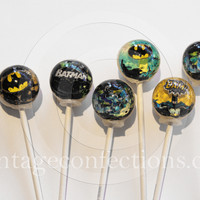 3D Batman super hero lollipops by Vintage Confections