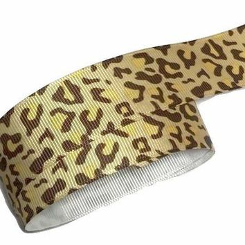 "Tan leopard print 1"" grosgrain ribbon"