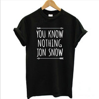 2017 Summer Female T-shirt top You Know Nothing Jon Snow Printed Letter T shirt Games Of Thrones t shirt for women tops tshirt