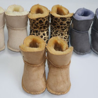 Warm Pink Winter Boot Baby Girl Newborn Shoes Baby Moccasins With Fur Soft Soled Booties