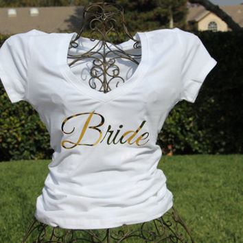 Bride VNeck,Bridesmaid Vneck Tshirt, VNeck, Wedding, Bride, Bridal Shower, Bridal Party, Wedding Party, Bridal Clothing