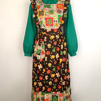 Vintage 1970s Holly Hobby style cotton pinafore dress with button back, armhole and hem frills