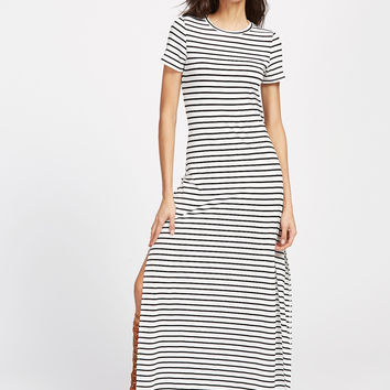 White and Black Stripe Side Slit Maxi Tee Dress