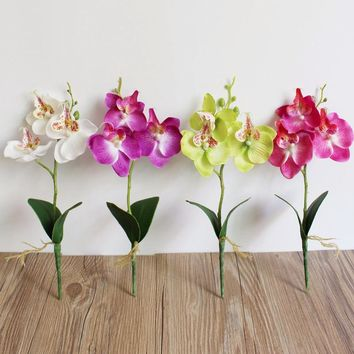 New 1pc 25cm Wedding Decoration Artificial Flowers Triple Head Artificial Butterfly Orchid Silk Flower Home Wedding