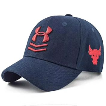 Under Armour New fashion embroidery bull head letter couple sunscreen baseball cap Navy Blue
