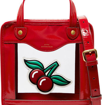 Anya Hindmarch - Cherries Rainy Day small appliquéd patent-leather and PVC tote