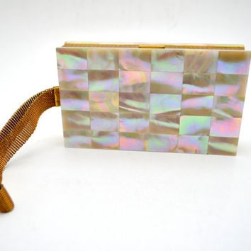 Vintage Evans Compact Wristlet, Mother of Pearl Vanity Case, Makeup and Cigarette Case, Evening Clutch, c 1940s