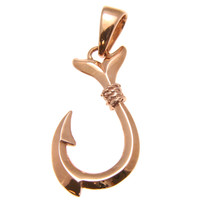 14K PINK ROSE GOLD 2 SIDED POLISH SHINY HAWAIIAN FISH HOOK CHARM PENDANT SMALL