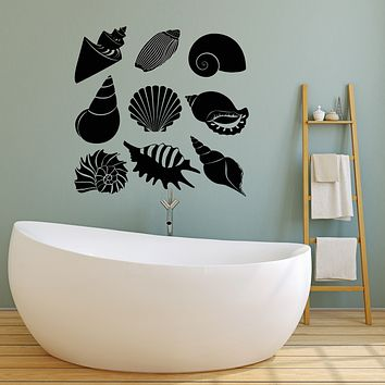 Vinyl Wall Decal Bathroom Decor Beach House Shells Marine Style Stickers Mural (g1562)