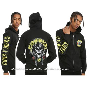 Licensed cool Licensed Guns N Roses Logo 85 Black Zipper Hoodie Hoody Sweatshirt Hot Topic NWT