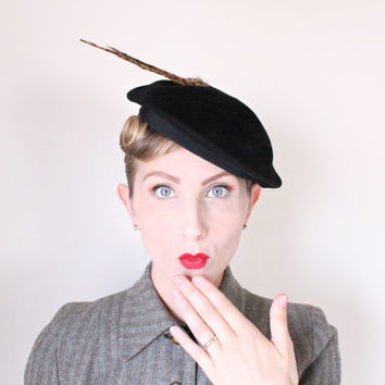1940's Hat,VINTAGE, Tilt, Saucer, WW2, Black, Avant Garde, French, Pin Up, Dramatic