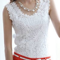 Vintage Floral Crochet Lace Sleeveless Top