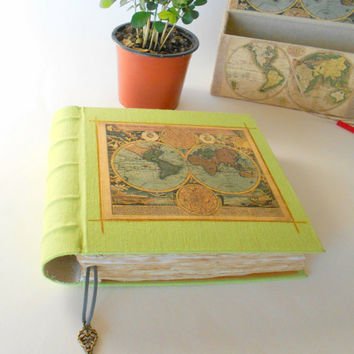 Old World map journal made from organic linen fabric, hardcover journal with a key accessory, 60 coffee colored sheets- Eco-friendly journal