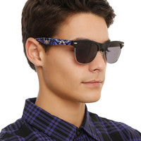 Black Hawaiian Flower Half-Rim Sunglasses