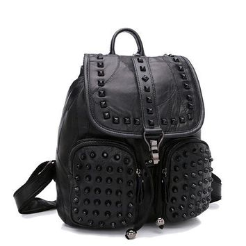 Cool Backpack school Tide cool fashion new sheepskin women backpack new trend stitching fabric magnetic rivets double pockets leather travel bags AT_52_3