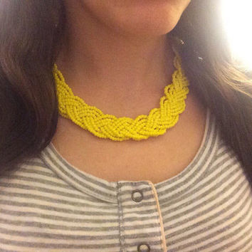 Yellow Necklace, Statement Necklace, Yellow Necklace, Braided Necklace, Boho Necklace, Yellow Necklace, Handmade Necklace, OOAK