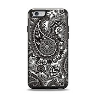 The Black & White Paisley Pattern V1 Apple iPhone 6 Otterbox Symmetry Case Skin Set