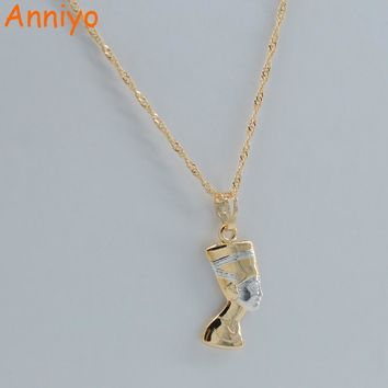 Anniyo SMALL Ancient Egyptian Queen Necklace Pendant Gold Color/Silver Egypt Nefertiti Head Portrait Jewelry #005604