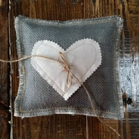 Grey Burlap Ring Bearer Pillow with Fabric Heart and Twine, Burlap Wedding Pillow, Rustic Wedding Decor, Country Wedding, Ceremony Pillow