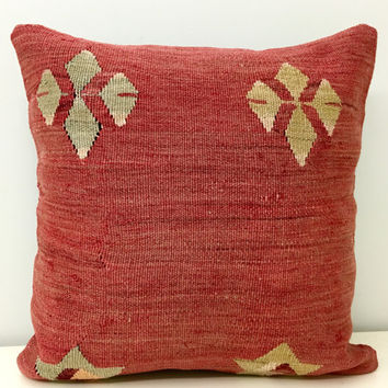 Turkish kilim pillow, Wool pillow, Kilim, Pillow Cover, Vintage Kilim pillow,Boho pillow, Throw Pillows, Ethnic Pillow, Rug Pillow Cover