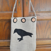 Burlap Ditty Bag, Crow Decor, Primitive Decor, Rustic Gift, Prim Tote, Rustic Bag, Gift for Her, Wool Felt, Chair Decor, Country Decorating