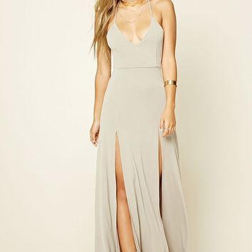 M-Slit Halter Maxi Dress