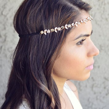 Gold Flower Gem Headband Festival Spring Summer Hippie Elastic Hair Band Gypsy Elegant Festival Hair Jewelry Chain